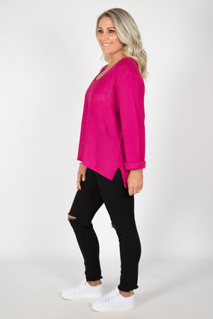Elements Knit Jumper in Fuchsia