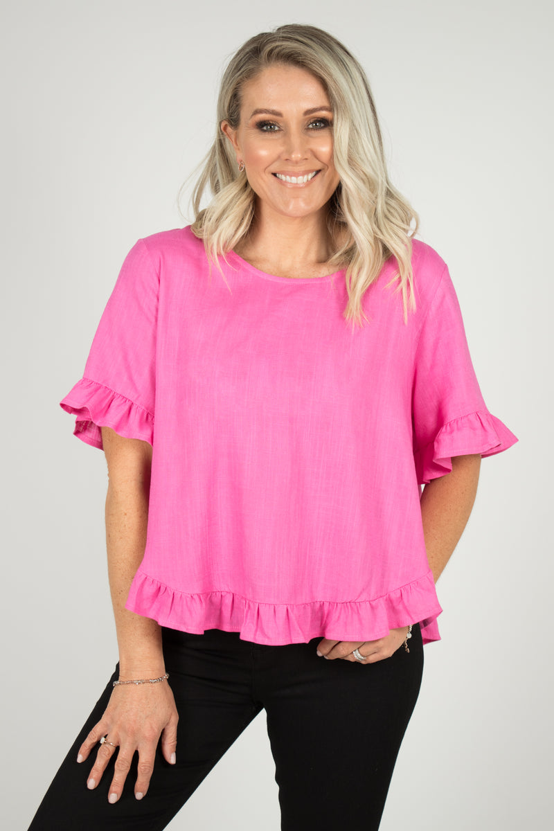 Jarrah Top In Hot Pink
