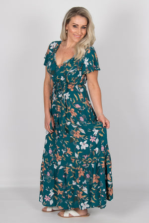 Lillian Dress in Emerald