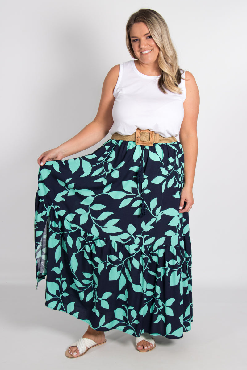 Cardinia Skirt in Navy Vine