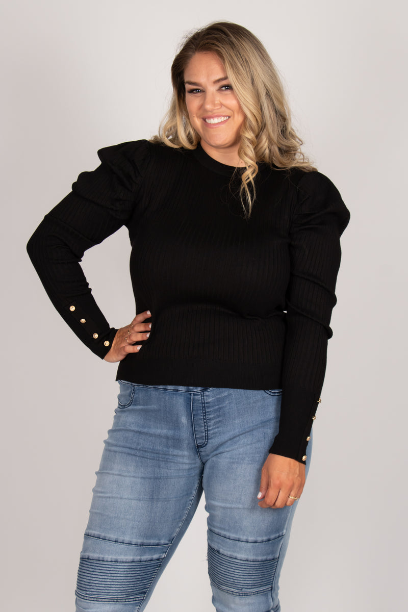 Society Knit Top in Black