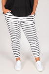 Heidi Pants in White/Black Stripe