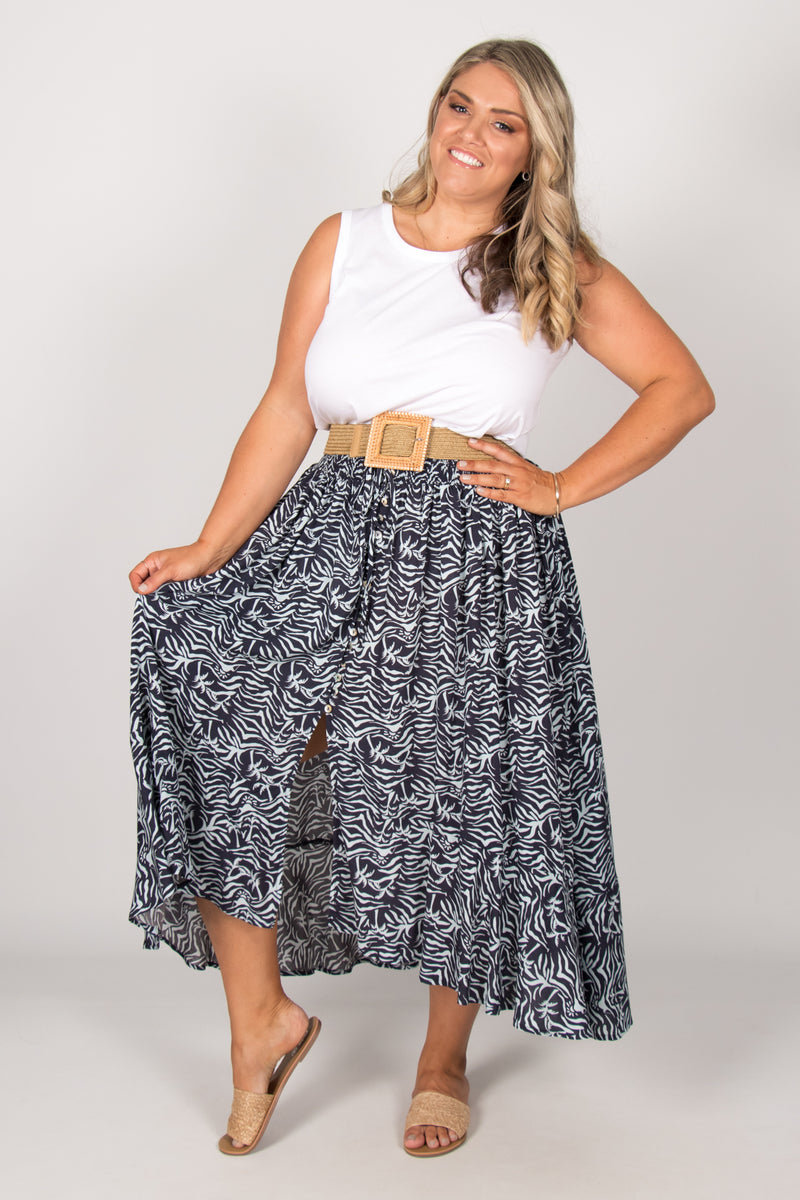 Zoe Skirt in Deep Ocean