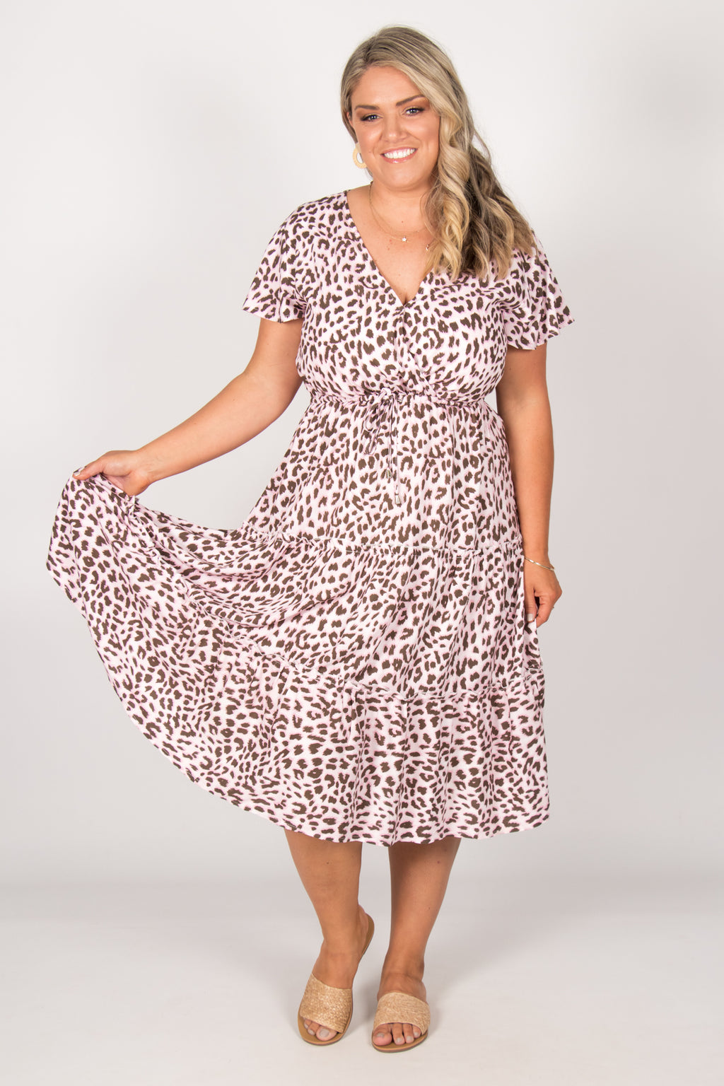 Lacey Dress in Pink Leopard