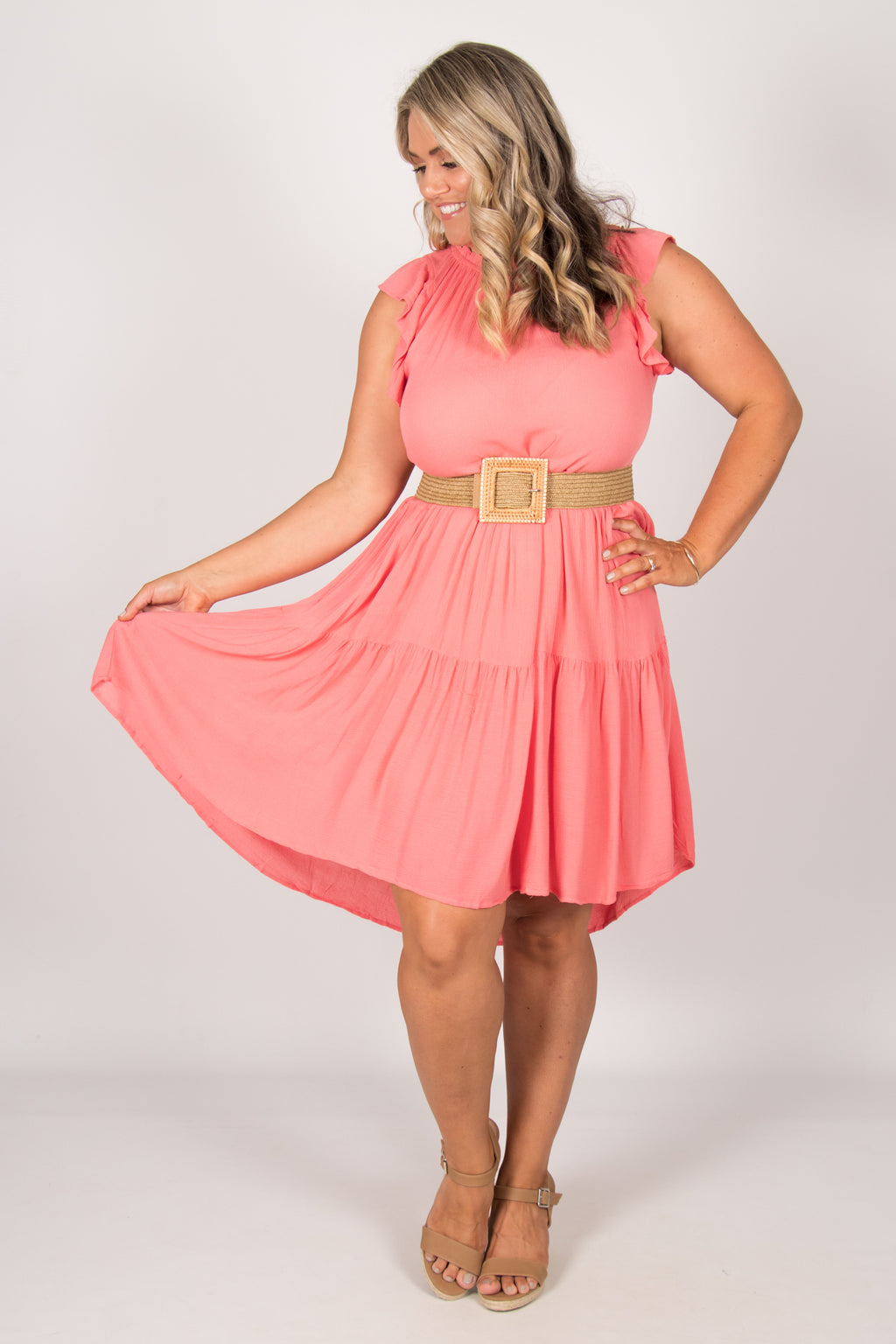 Joslin Dress in Coral