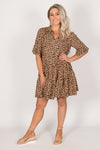 Cleo Dress in Tan Leopard