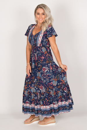 Kalani Dress in Navy Blue