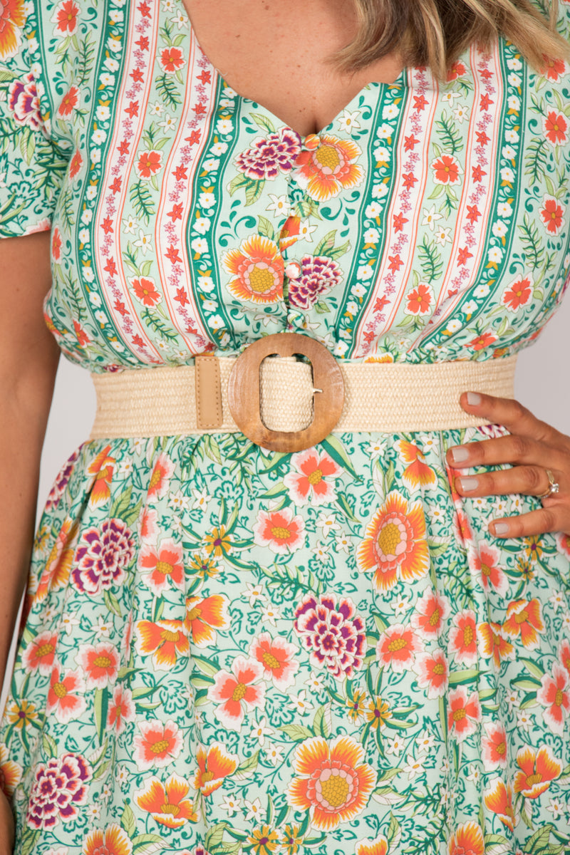 Shauna Stretch Belt in Cream/Circle