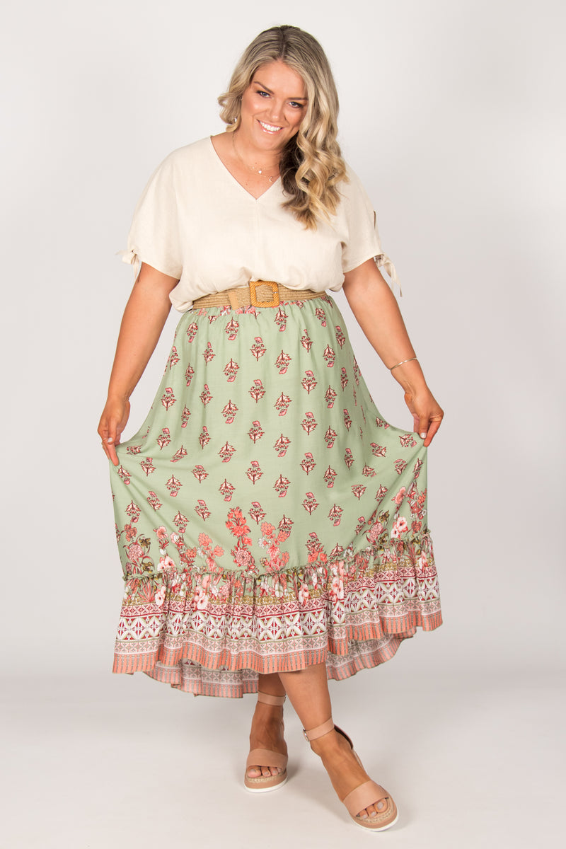 Tia Skirt in Sage