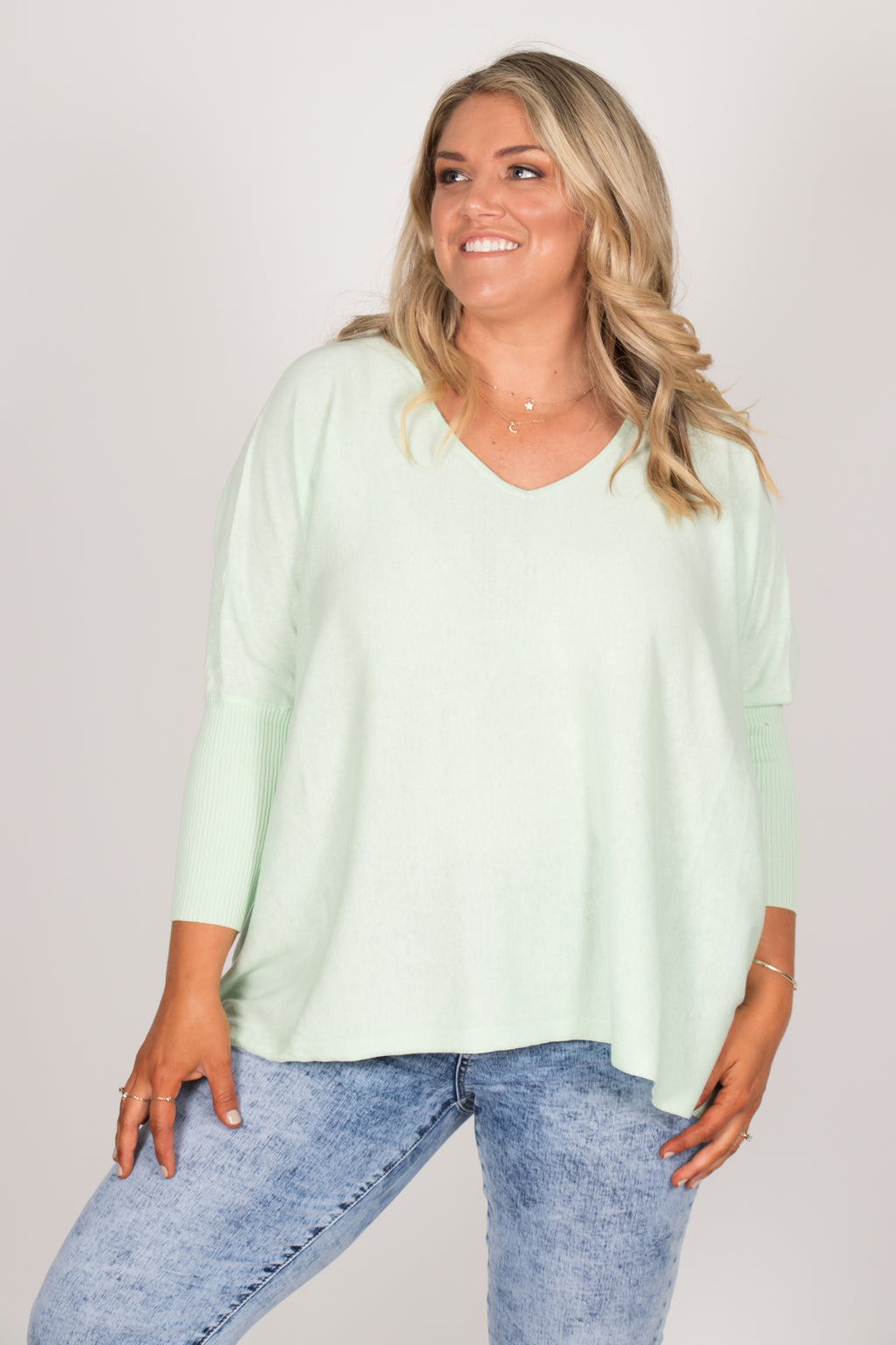 Delia Knit Top in Mint