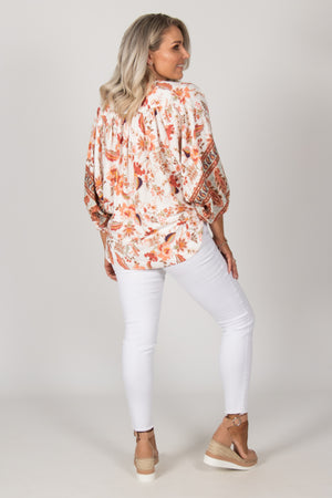 Lexi Top in White Boho