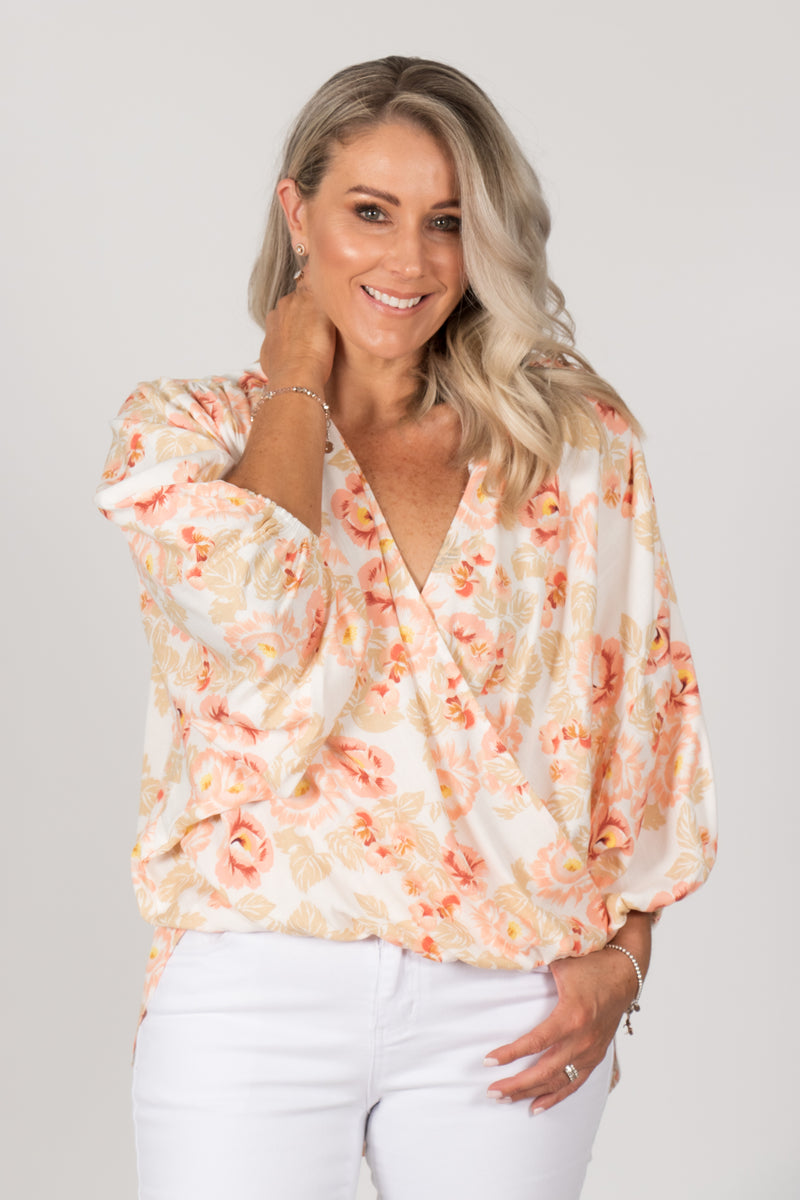 Lexi Top in White Floral