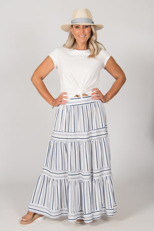 Reagan Skirt in Navy/White