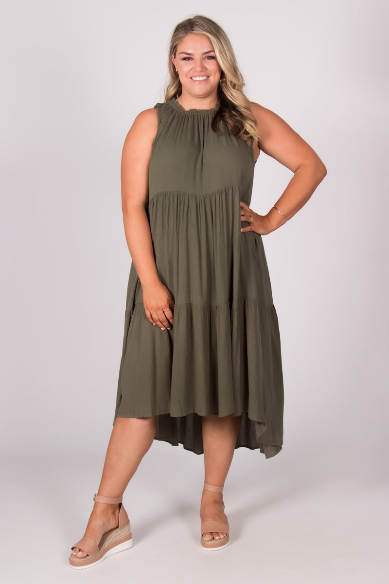 Nola Dress in Khaki