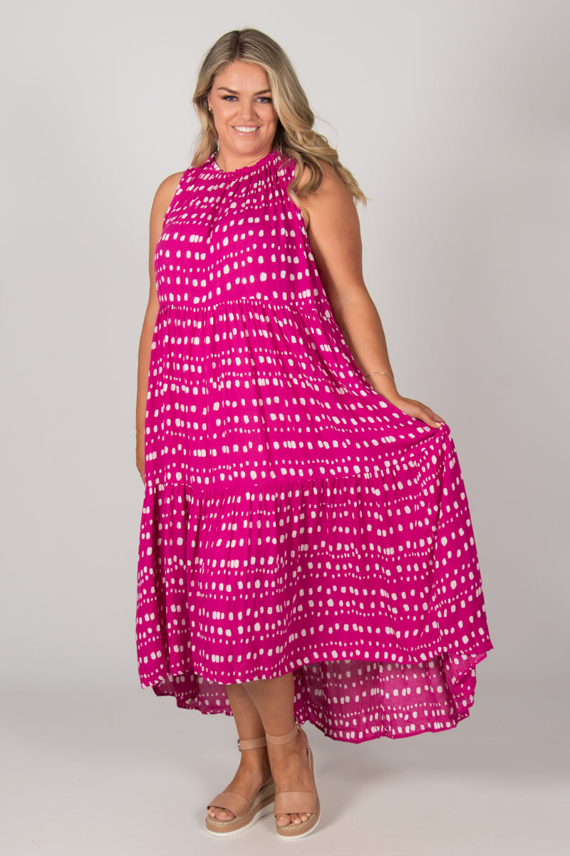 Nola Dress in Fuchsia