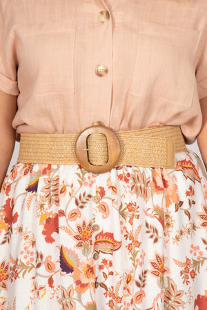 Shauna Stretch Belt in Natural/Circle