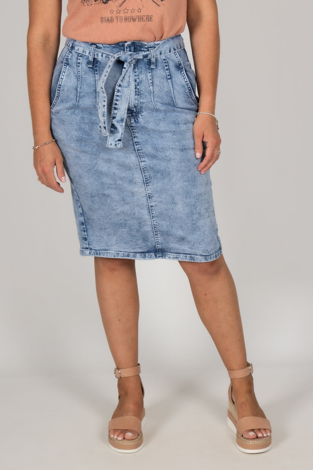 Drew Denim Skirt in Acid Wash