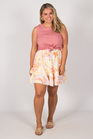 Belle Skirt in Pastel Floral