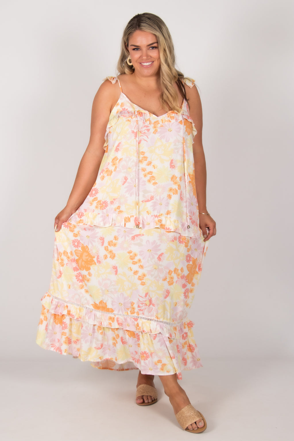 Jade Dress in Pastel Floral