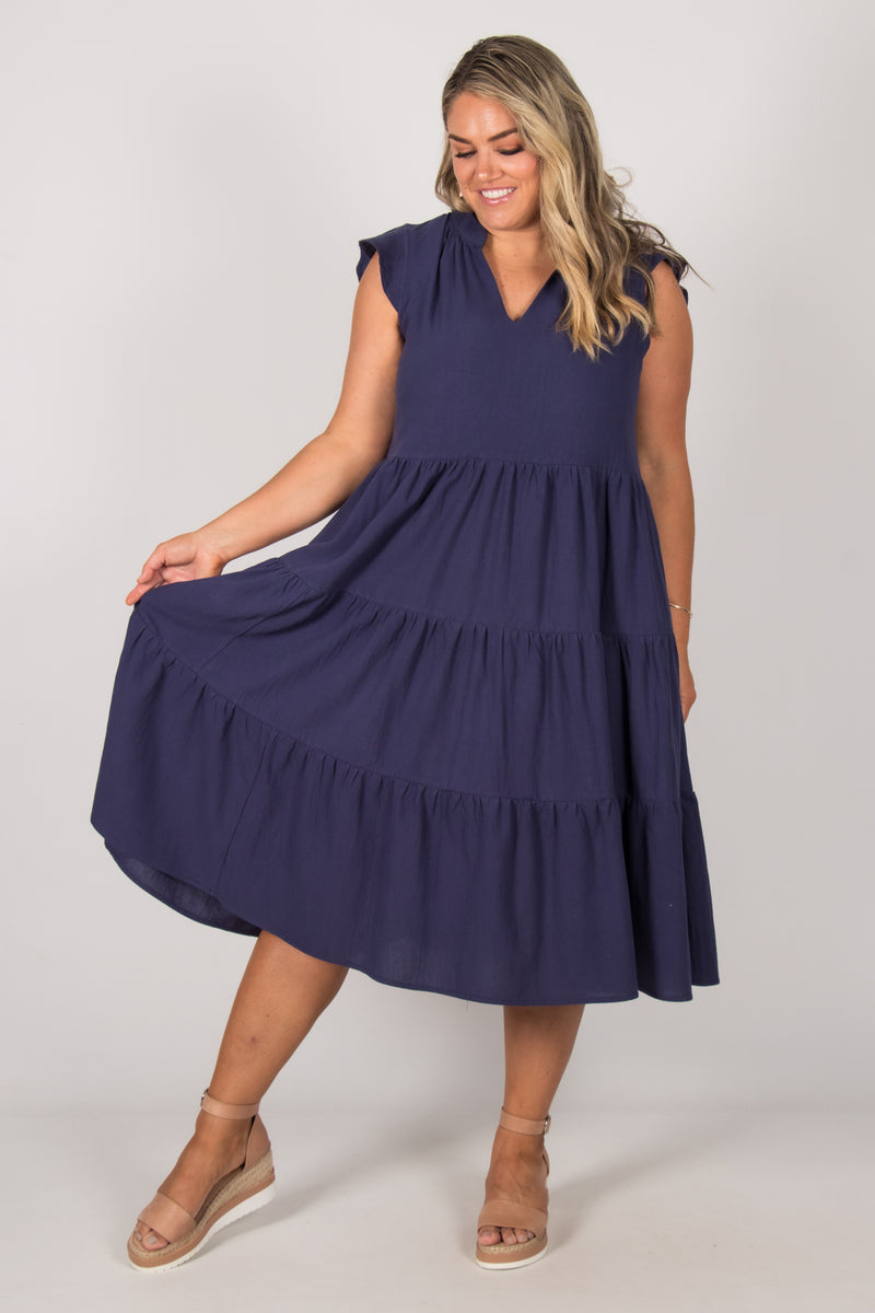 Blissful Dress in Navy