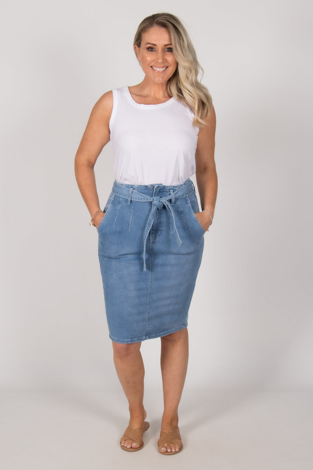 Drew Denim Skirt in Light