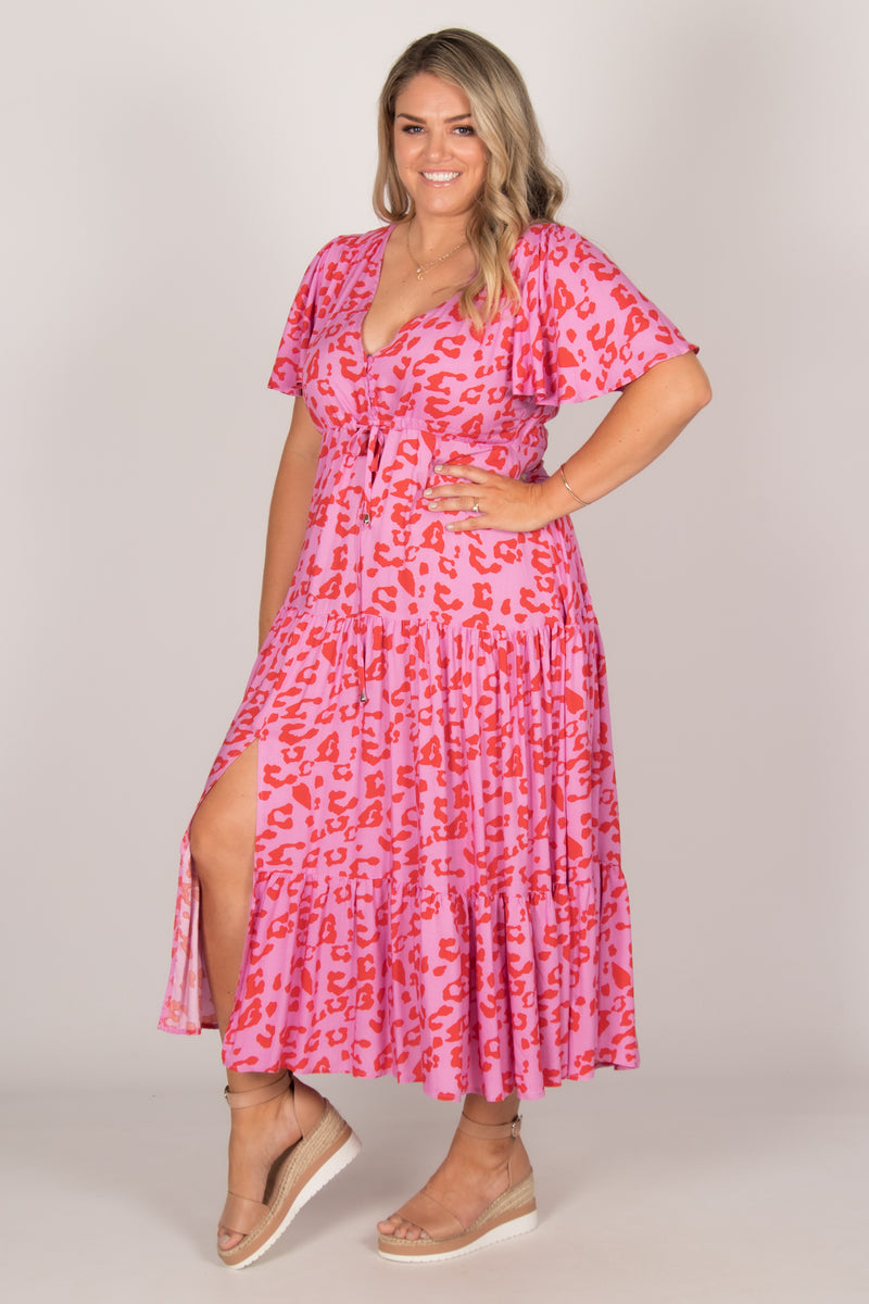 Albion Dress in Pink/Red