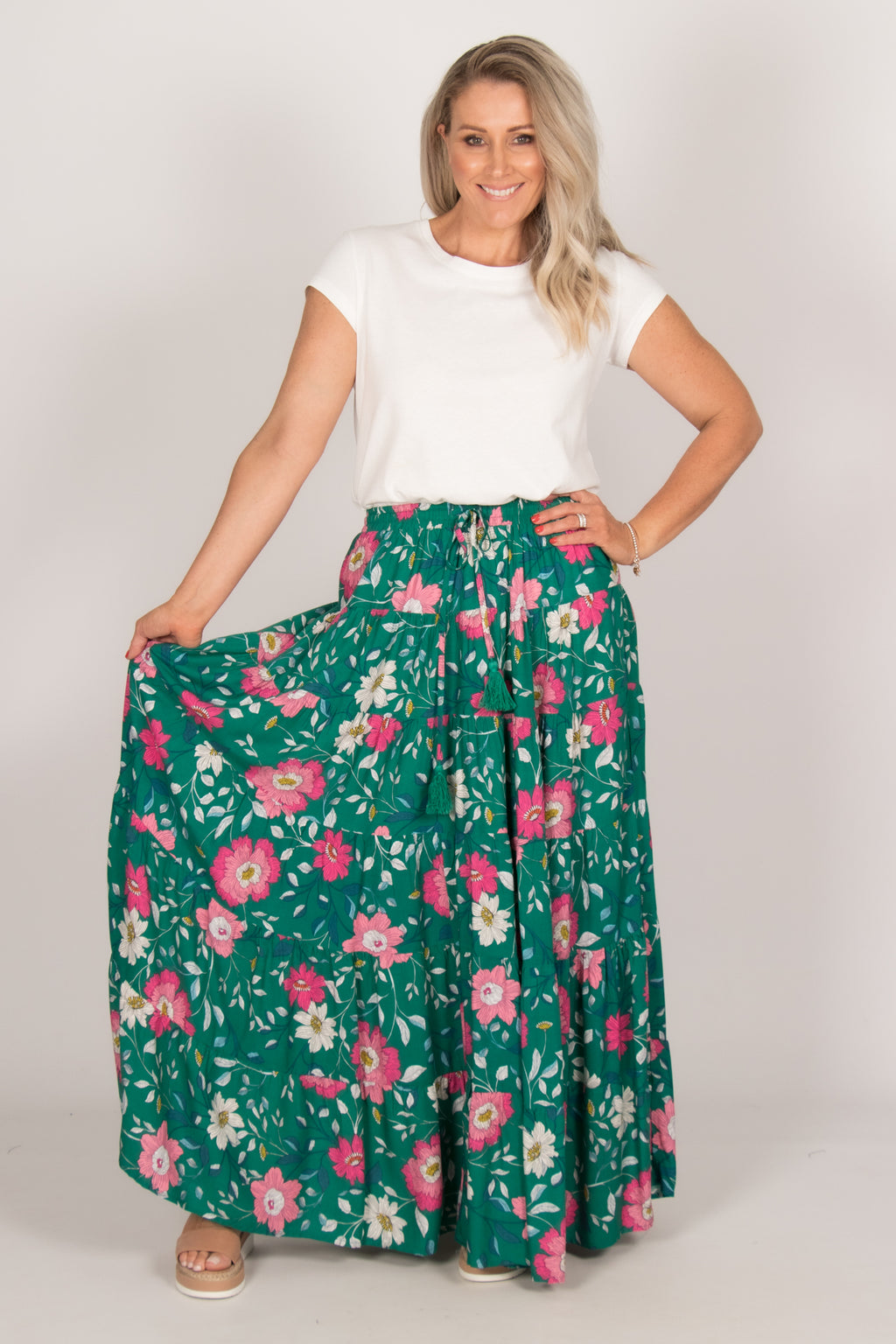 Britta Skirt in Turquoise/Pink