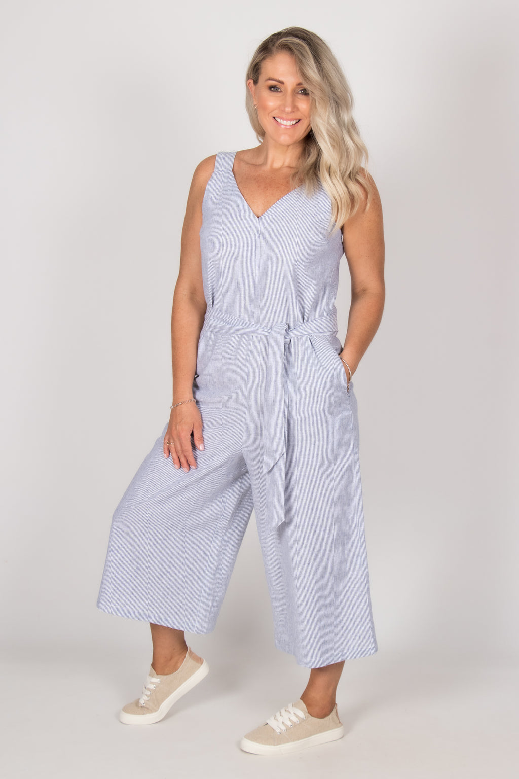 Joey Jumpsuit in Pinstripe