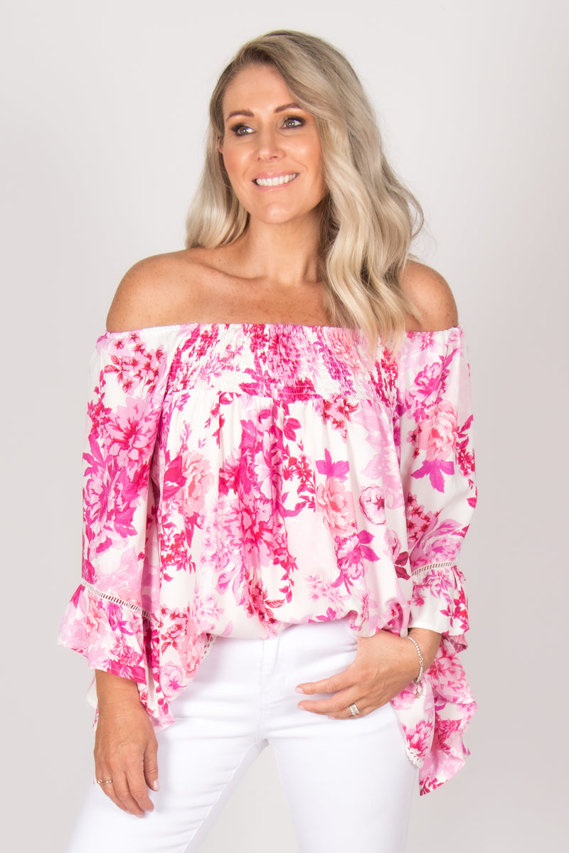 Beaches OTS Top in White/Fuchsia