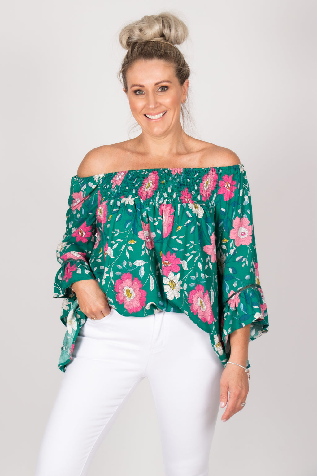 Beaches OTS Top in Turquoise/Pink