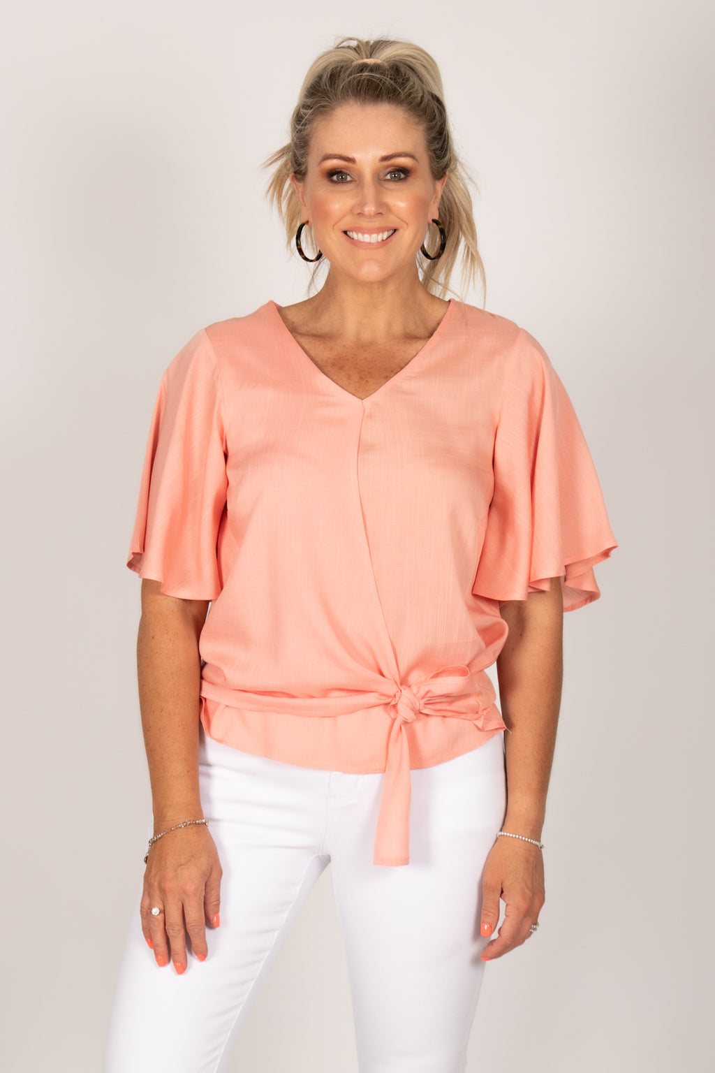 Bella Top in Coral