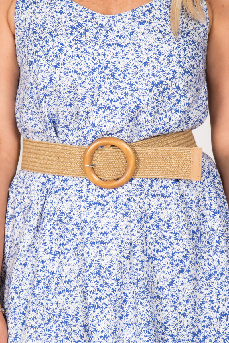 Tahlia Stretch Belt in Natural/Circle