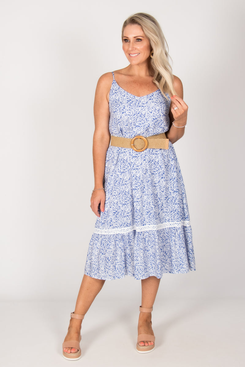 Emmie Dress in Blue/White
