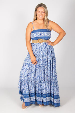 Ally Maxi Dress in Blue