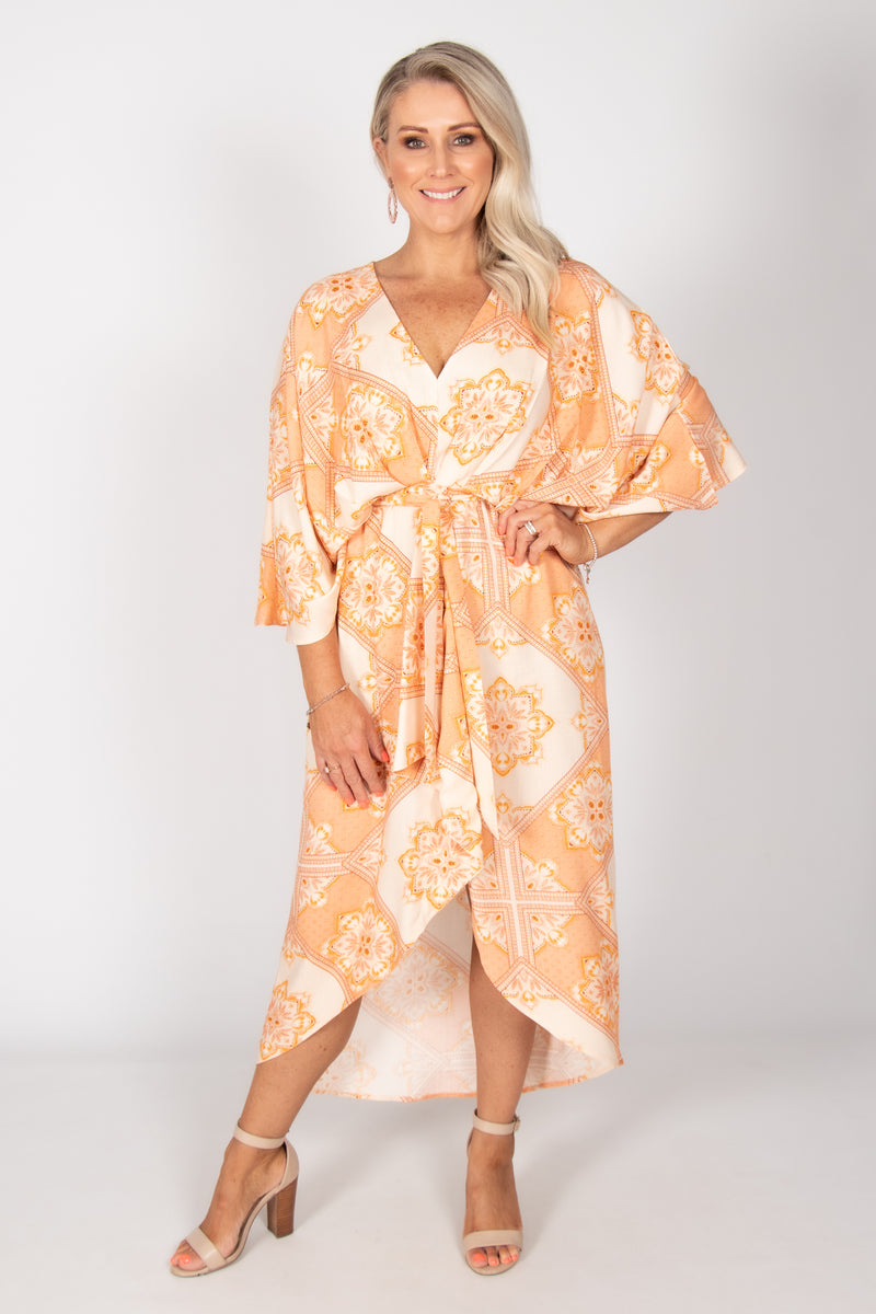 Elvina Dress in Tangerine Dream