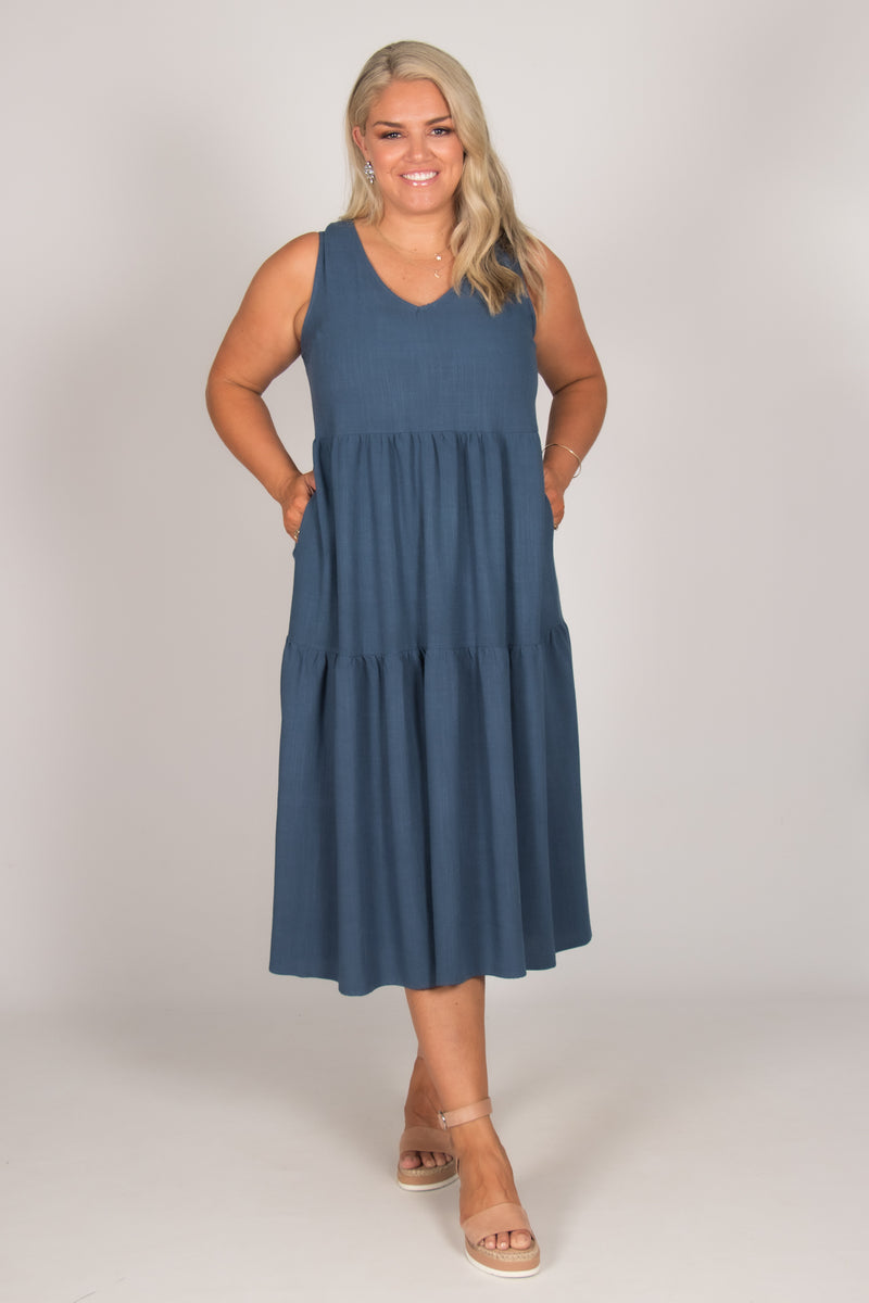Chelsea Dress in Dark Blue