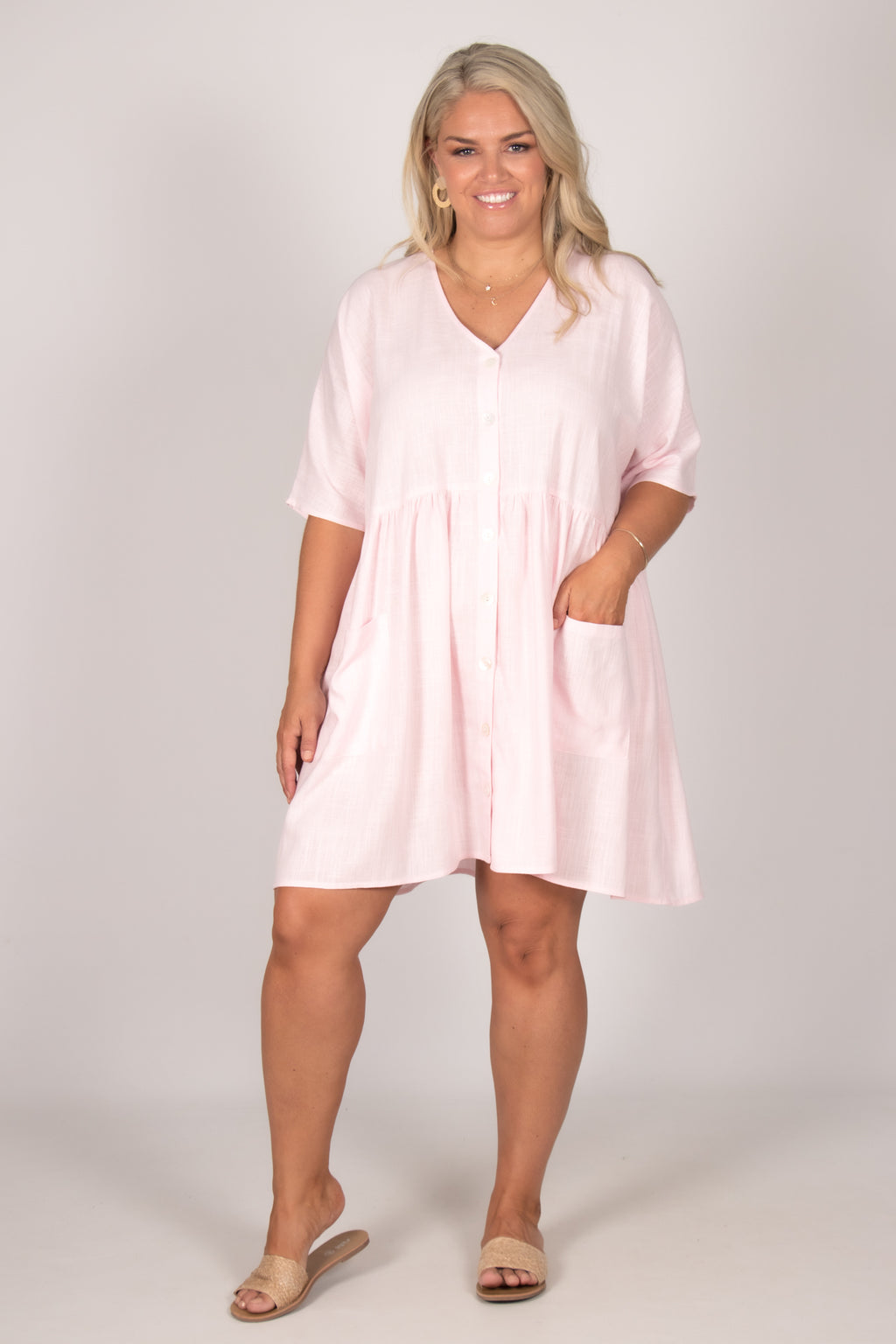 Darcie Dress in Baby Pink