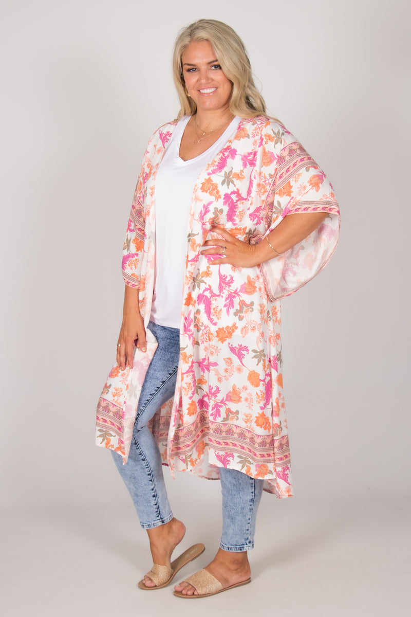 Leah Cape in White Floral