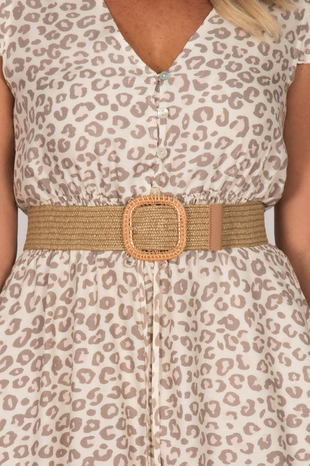 Blair Stretch Belt in Natural/Square