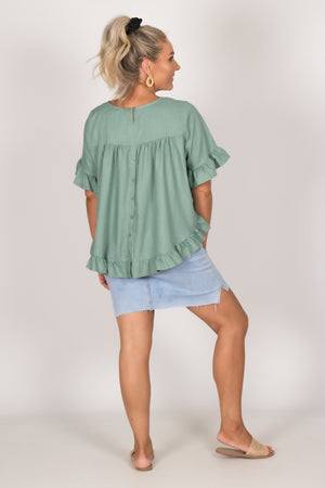 Ainslie Top in Teal