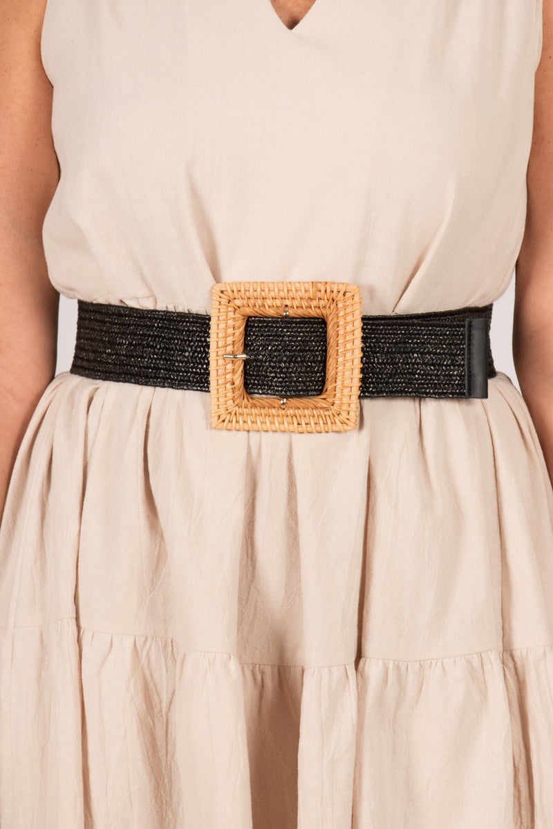 Lucy Stretch Belt in Black Square