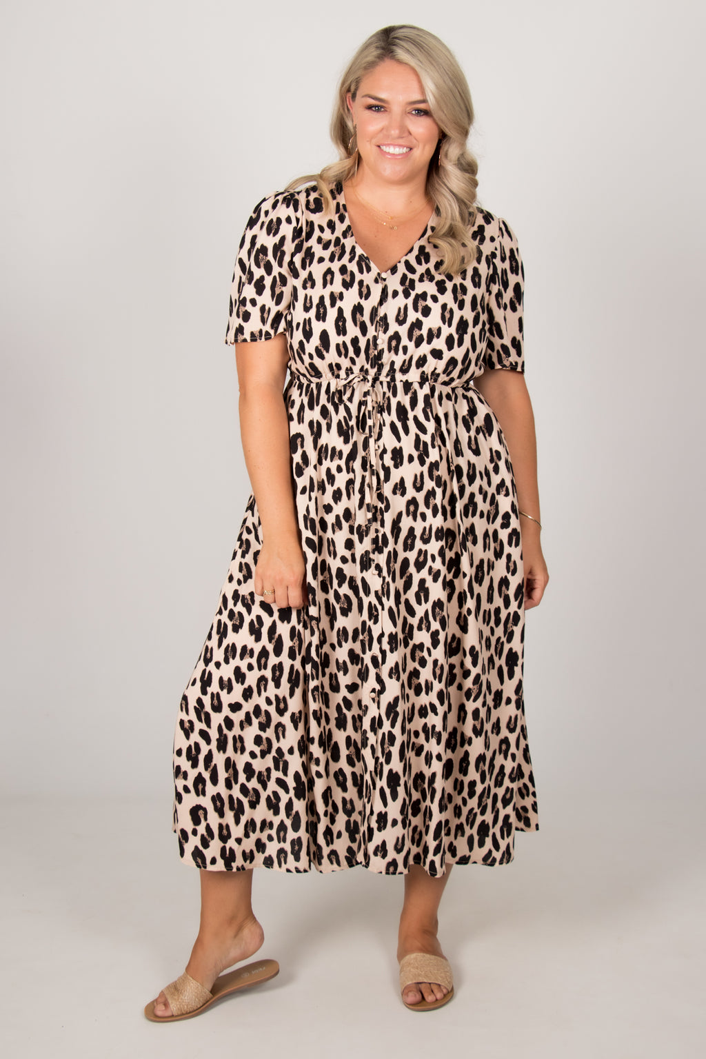 Teliah Dress in Beige/Leopard