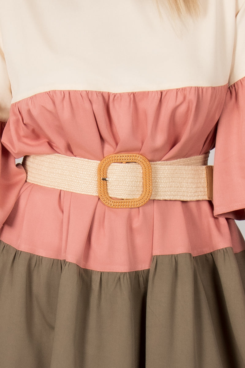 Carlton Stretch Belt in Cream/Square