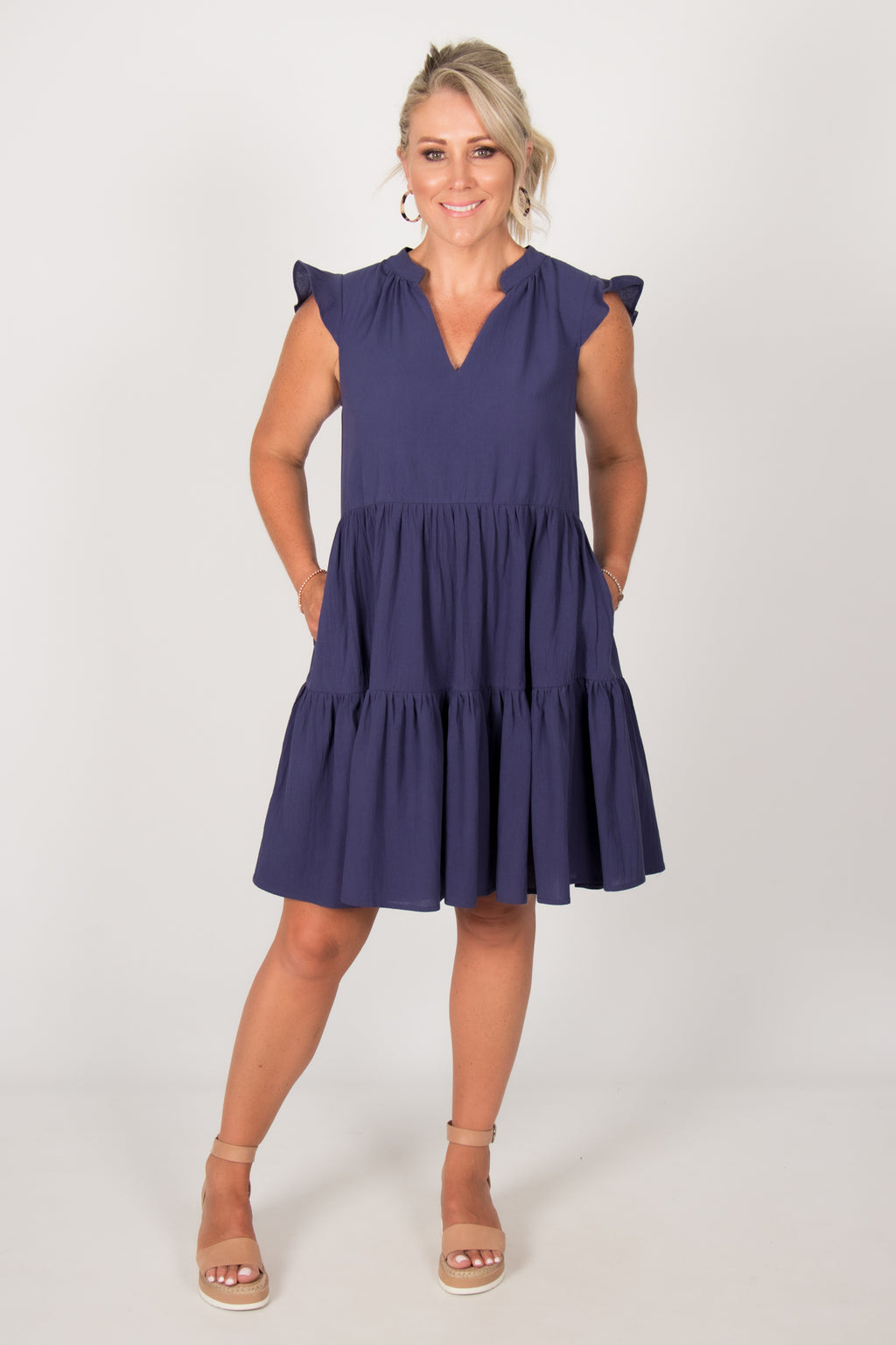 Mini Blissful Dress in Navy