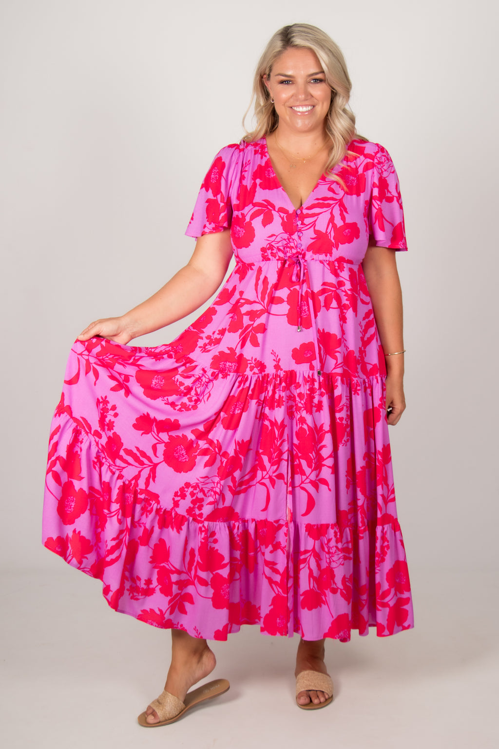 Albion Dress in Purple/Neon Pink