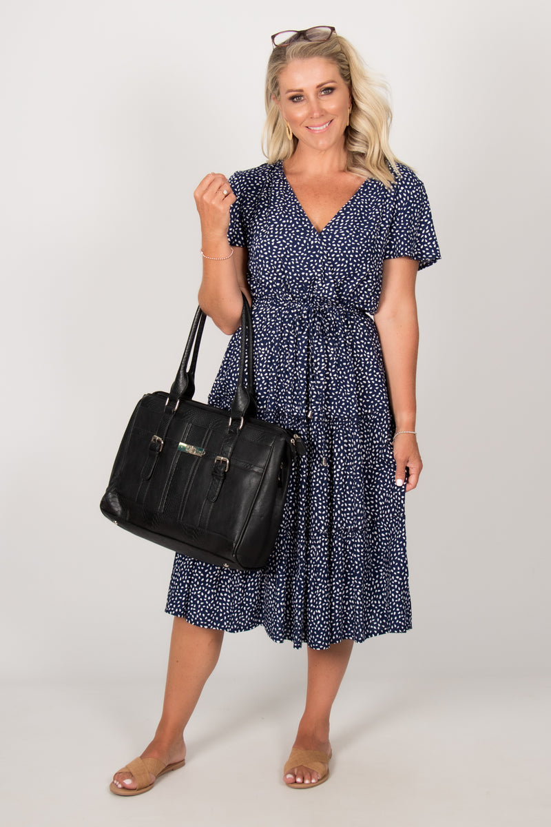 Lacey Dress in Navy Spot