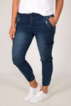 Jayda Cargo Joggers in Denim