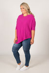 Charlie Knit Top in Fuchsia