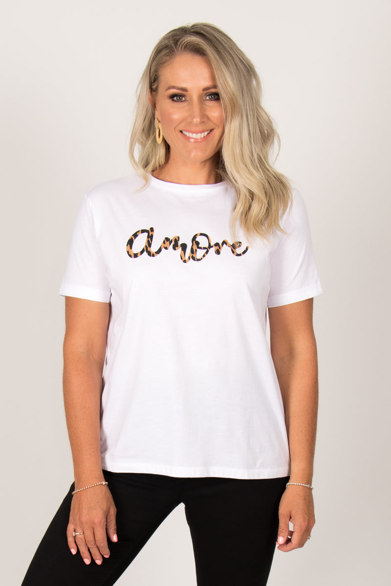 Camille Amore Tee in White