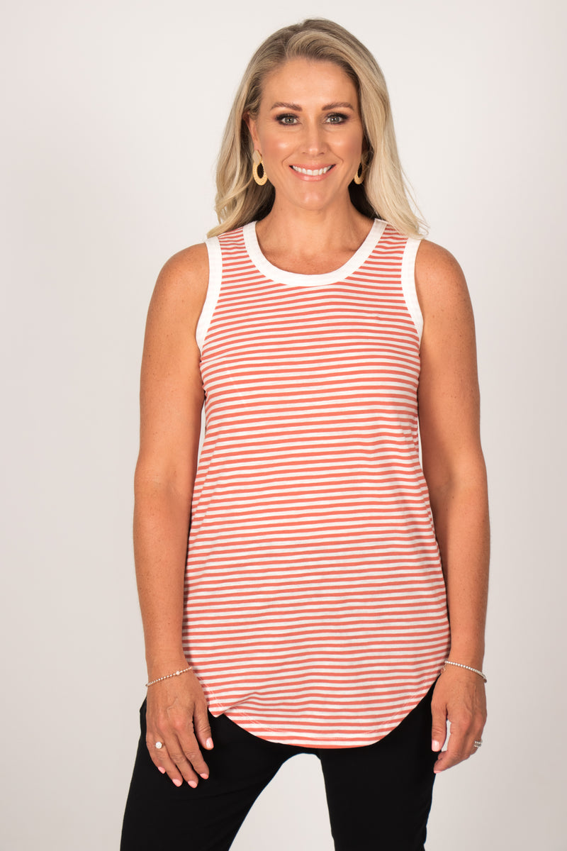 Keira Tank in Tangello Stripe